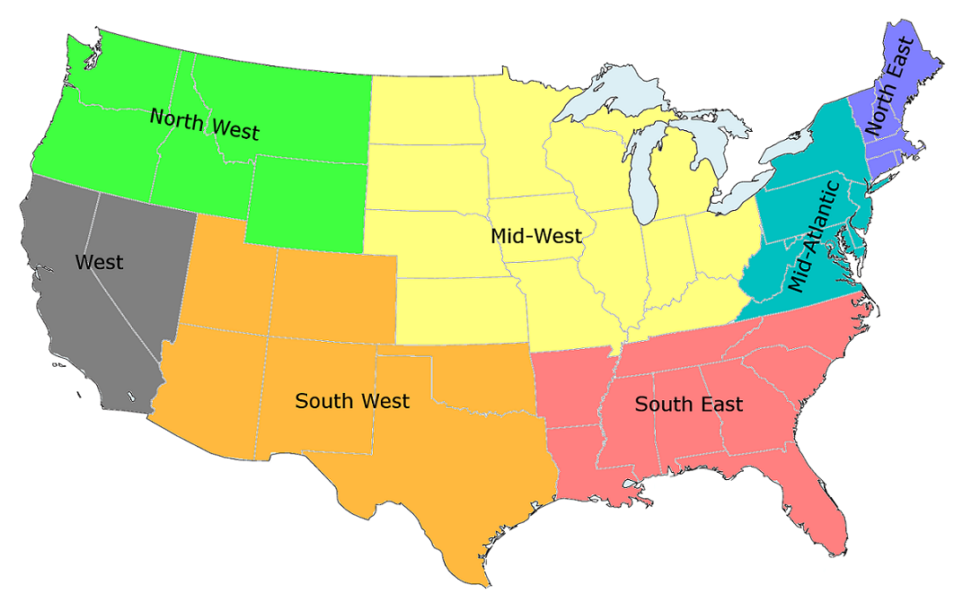 Regions Of The United States Studying In US A Guide About - Us map divided into 4 regions